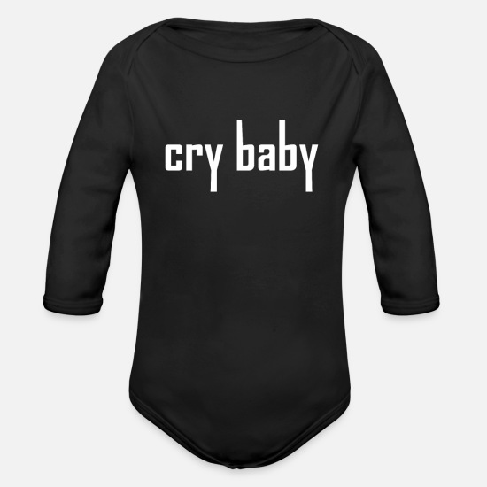 Birthday Baby Clothes - cry baby shirt - wha wha - guitarist kid - Organic Long-Sleeved Baby Bodysuit black