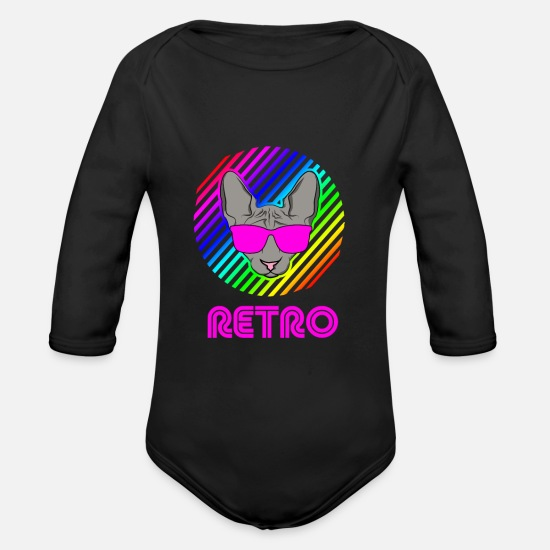 Uv Baby Clothes - Retro Cat Cat of the 90s - Organic Long-Sleeved Baby Bodysuit black