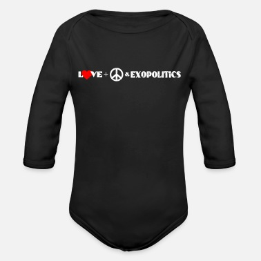 Distressed Love, Peace & Exopolitics T-Shirt als Geschenk - Baby Bio Langarmbody