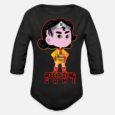 Role Playing Game Role playing game - comic heroine - Organic Longsleeve Baby Bodysuit