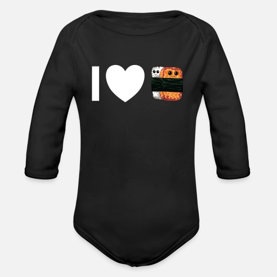 Love Baby Clothes - Musubi Hawaiian Japanese food Sushi rice - Organic Long-Sleeved Baby Bodysuit black