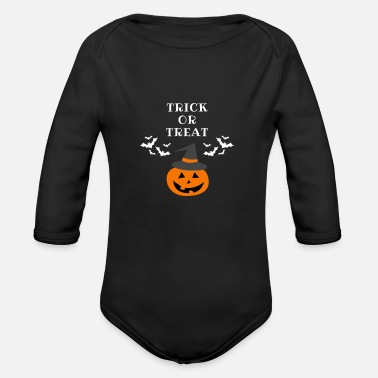 Trick Or Treat TRICK OR TREAT | HALLOWEEN | Trick or treat? - Vauvan pitkähihainen luomu-body