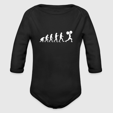 Weightlifting funny workout fitness - Organic Longsleeve Baby Bodysuit