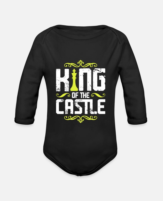 Chess Baby Bodysuits - King King Chess - Organic Long-Sleeved Baby Bodysuit black
