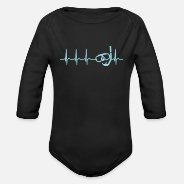Diving Heartbeat Diving Diver T Shirt saying Men - Organic Longsleeve Baby Bodysuit