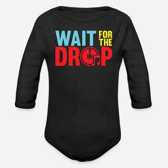 Aesthetic Baby Clothes - Wait for the drop - Organic Long-Sleeved Baby Bodysuit black