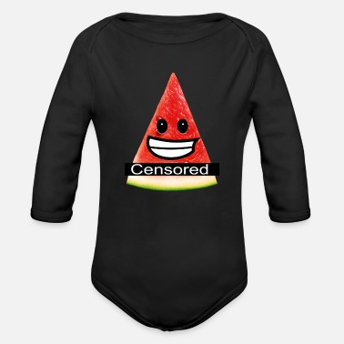 Nudity sexy watermelon - censored for nudity - Organic Long-Sleeved Baby Bodysuit