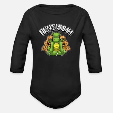 Drakemmmm - Yoga Dragon Meditates In The Fire - Organic Long-Sleeved Baby Bodysuit