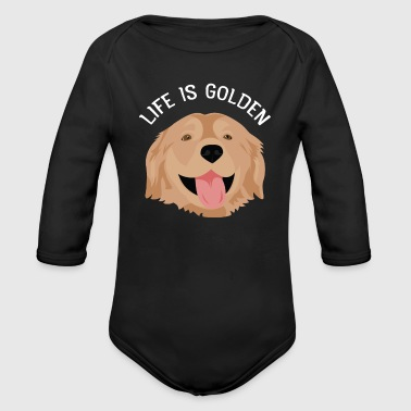 Golden Life Is Golden - Golden Retreiver Hund - Organic Longsleeve Baby Bodysuit
