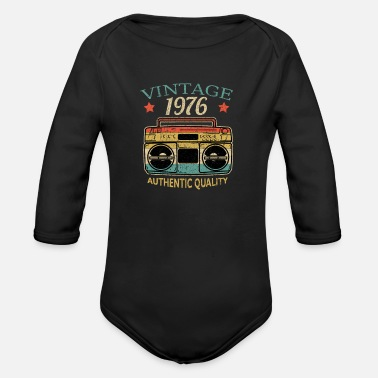 Cassette Vintage 1976 Radio Authentic Quality BDay Gift - Organic Long-Sleeved Baby Bodysuit