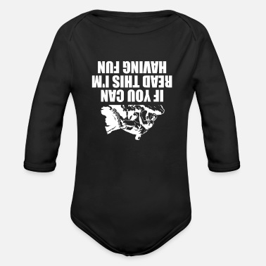 Rock Climbing Upside Down Rock Climbing Gift Idea - Organic Long-Sleeved Baby Bodysuit