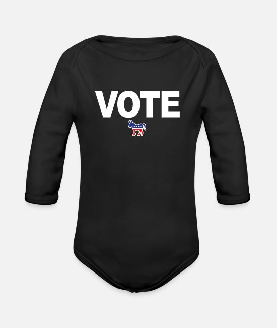 Vote Baby Bodys - Vote him out - Anti Trump - Biden Harris 2020 - Baby Bio Langarmbody Schwarz