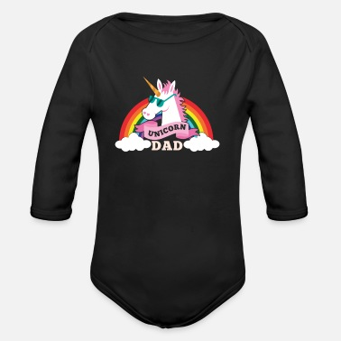 Father Day Unicorn Dad - cool sunglasses father - Vauvan pitkähihainen luomu-body