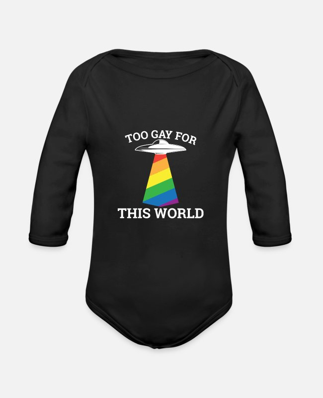 Hen Night Baby Bodysuits - Too gay for this world - gay lesbian - Organic Long-Sleeved Baby Bodysuit black