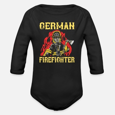 Firefighter fire department fire - Organic Long-Sleeved Baby Bodysuit