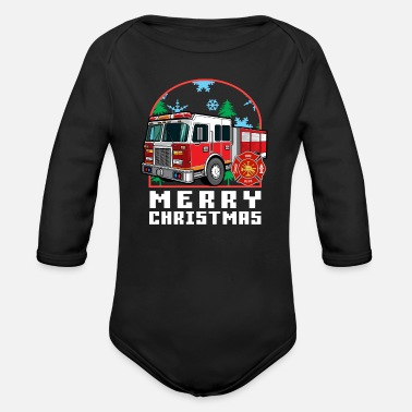 Fire Department Christmas Fireman Christmas Eve - Organic Long-Sleeved Baby Bodysuit