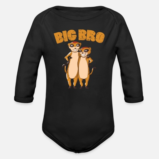 Big Baby Clothes - BIG BRO Meerkat - Organic Long-Sleeved Baby Bodysuit black