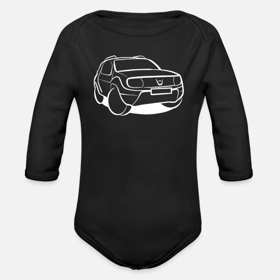 Automobile Baby Clothes - SUVs - Organic Long-Sleeved Baby Bodysuit black