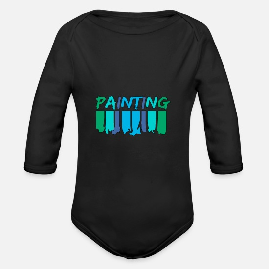 Paint Brush Baby Clothes - Painting - painting - Organic Long-Sleeved Baby Bodysuit black