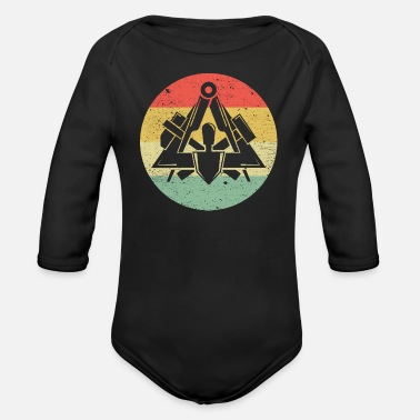 Workwear Masons guild symbol on cool vintage retro colors - Organic Long-Sleeved Baby Bodysuit