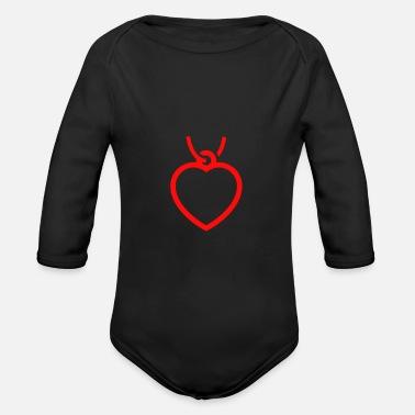 Halsband hjärta halsband - Ekologisk långärmad babybody 800e3f7f77393