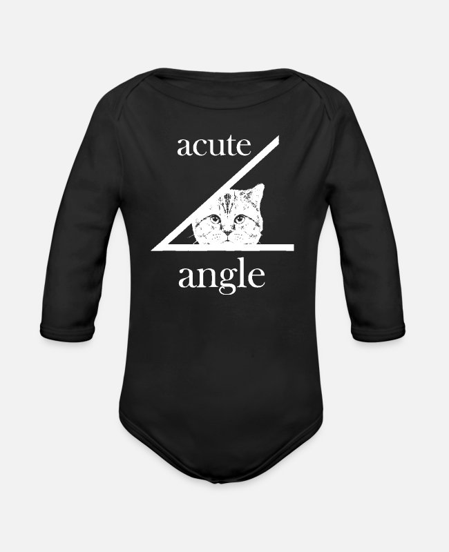 Cool Baby Bodysuits - Acute Angle Cat That's Cute - Funny T-Shirt - Organic Long-Sleeved Baby Bodysuit black