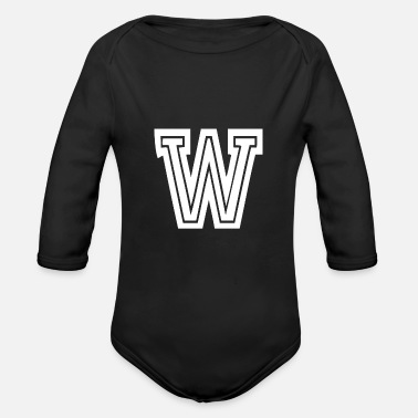 Letter Letter W w - College School University College - Organic Long-Sleeved Baby Bodysuit