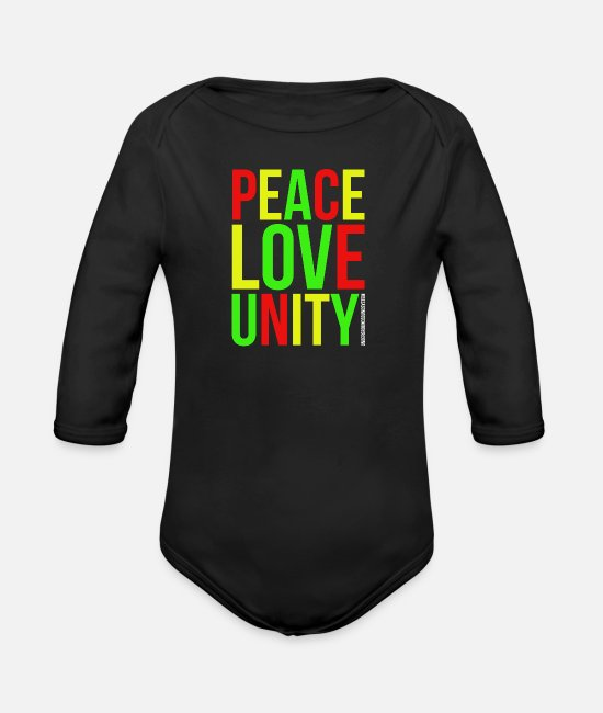 Love Baby Clothes - PEACE LOVE UNITY - Organic Long-Sleeved Baby Bodysuit black