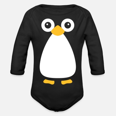 Christmas Cute Vector Penguin - Organic Long-Sleeved Baby Bodysuit