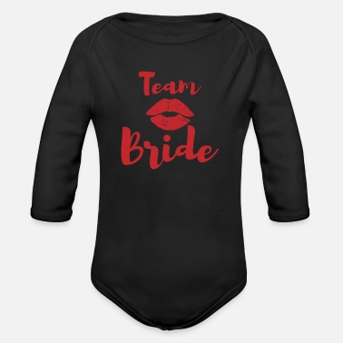 Stag Team bride lips wedding gift - Organic Long-Sleeved Baby Bodysuit