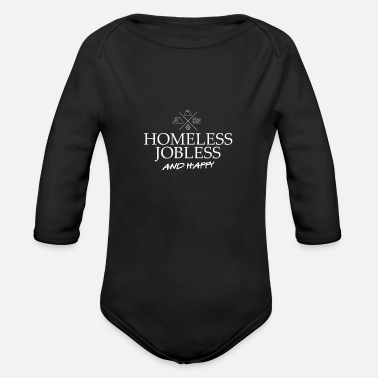 Jobless homeless happy adventure camping - Organic Long-Sleeved Baby Bodysuit