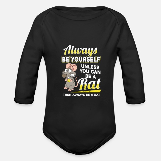 Rat Baby Clothes - rat - Organic Long-Sleeved Baby Bodysuit black