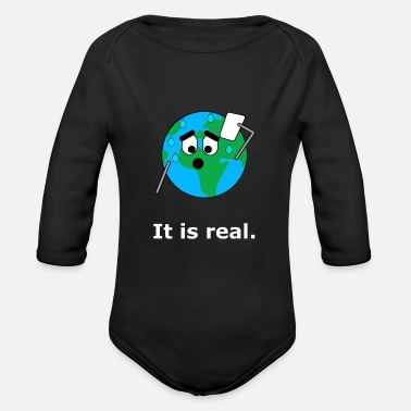 Global Het is echt. Earth Global Warming Global Warming - Baby bio-rompertje met lange mouwen