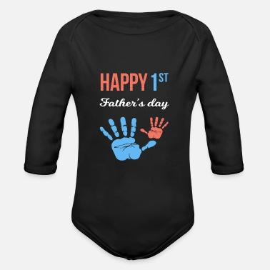 Daddy First Father's Day, happy first father's day gift - Organic Long-Sleeved Baby Bodysuit