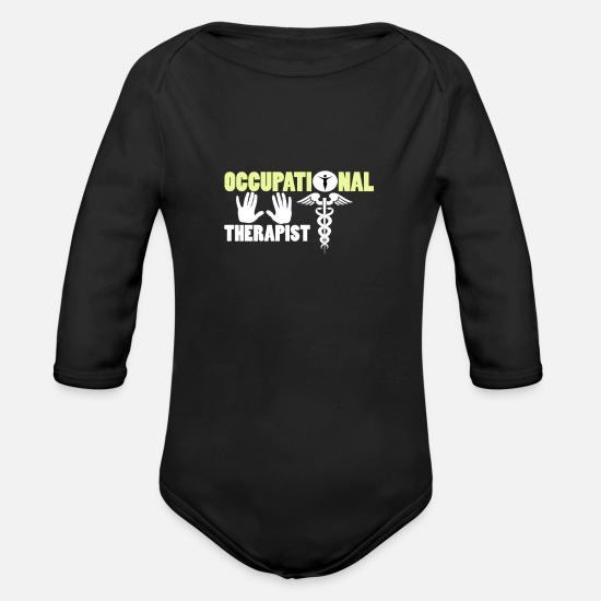 Therapist Baby Clothes - occupational therapist - Organic Long-Sleeved Baby Bodysuit black