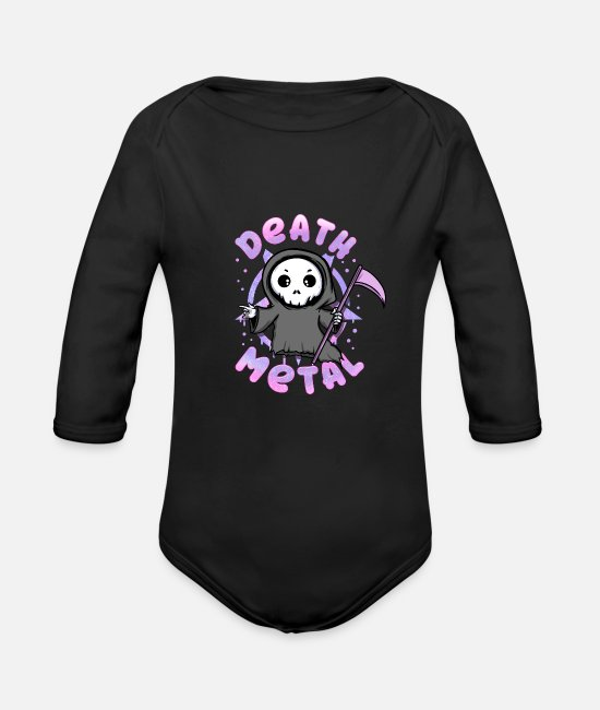 Symbol  Baby Clothes - Death Metal Grim Reaper Death Pastel Goth bleak - Organic Long-Sleeved Baby Bodysuit black
