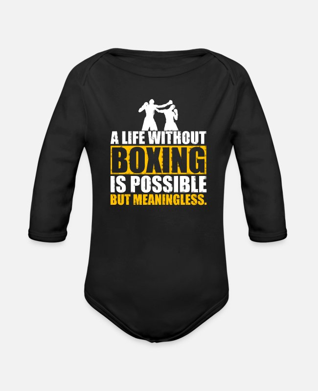 Martial Arts Baby Bodysuits - Boxing Shirt Life Without Boxing - Organic Long-Sleeved Baby Bodysuit black