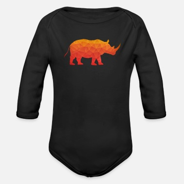 Safari  Retro Triangle Origami Rhinoceros / Rhino - Body bébé bio manches longues