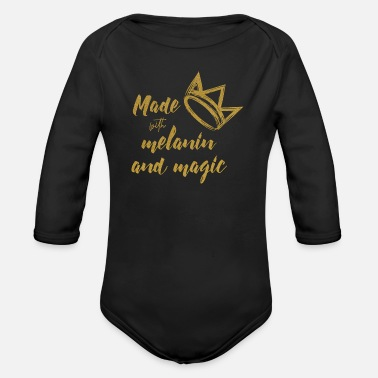 Magic The Gathering Queen Quote Made With Melanin And Magic - Organic Longsleeve Baby Bodysuit