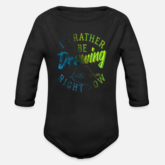 Painter Baby Clothes - To draw - Organic Long-Sleeved Baby Bodysuit black