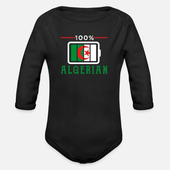 Patriot Baby Clothes - Algeria - Organic Long-Sleeved Baby Bodysuit black