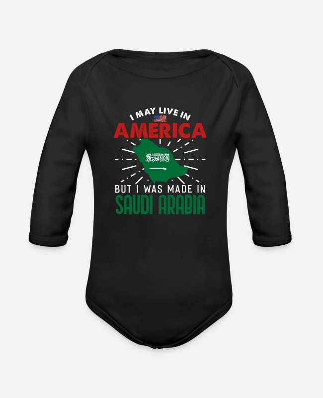 Saudi Arabia Fan Baby Bodysuits - Saudi Arabia - Organic Long-Sleeved Baby Bodysuit black