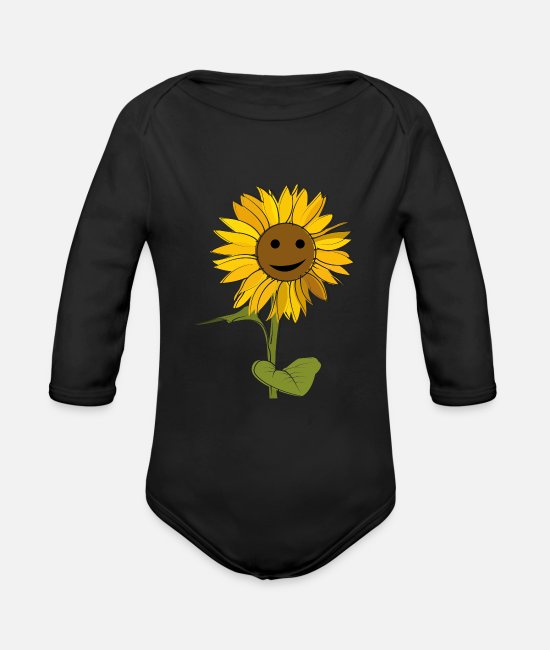 Heat Baby Bodysuits - Sunflower with face friendly happy sun - Organic Long-Sleeved Baby Bodysuit black