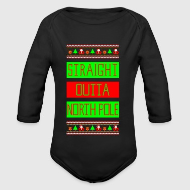 Straight Outta NorthPole Ugly Christmas Sweater - Body bébé bio manches longues