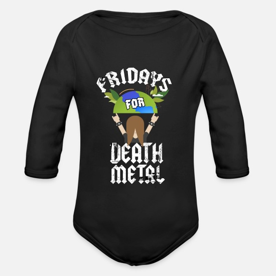 Death Metal Baby Clothes - Fridays for Death Metal - Organic Long-Sleeved Baby Bodysuit black
