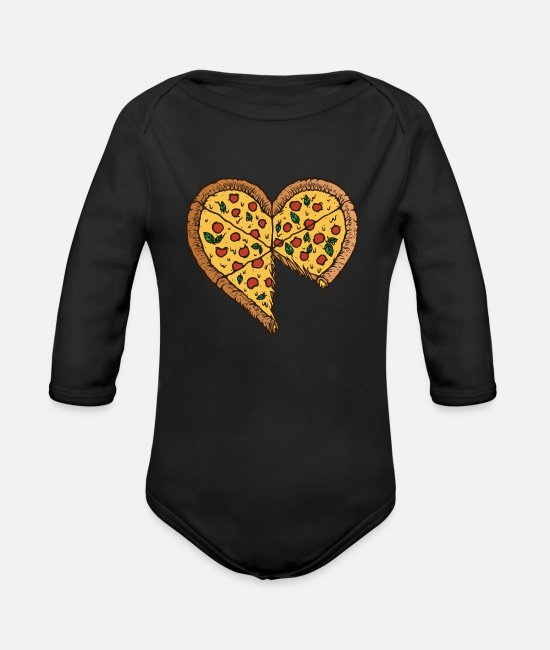Pizza Baby Bodys - Papa Sohn Partnerlook Partneroutfit Pärchen Pizza - Baby Bio Langarmbody Schwarz