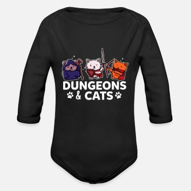 Clan Dungeons & Cats Gamer Gaming Zocker RPG gift - Organic Long-Sleeved Baby Bodysuit