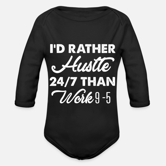 Hustle Baby Clothes - Hustle Vs. work - Organic Long-Sleeved Baby Bodysuit black