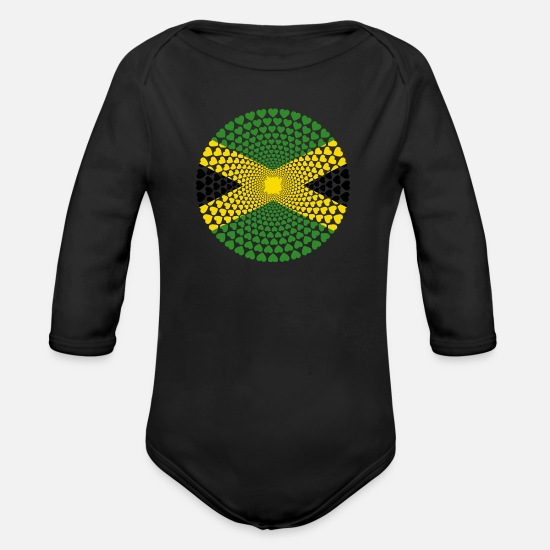 Love Baby Clothes - Jamaica Jamaica Love HEART Mandala - Organic Long-Sleeved Baby Bodysuit black