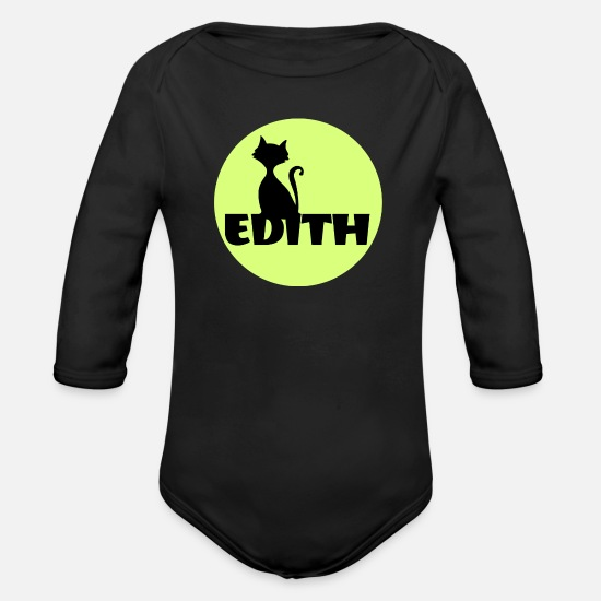 Diving Gift Baby Clothes - Edith Name First name - Organic Long-Sleeved Baby Bodysuit black
